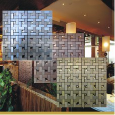 Mosaïque autoadhésive tuiles diamant verre tuile dosseret pinwheel modèles métal aluminium ACP mur pas cher pour les cuisines MAT1530