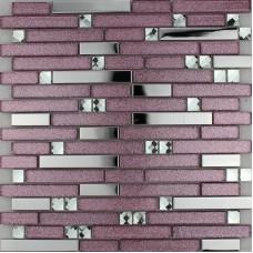 Mosaïque de verre violet tuiles dosseret argent inox et cuisine cristal diamant pour murs métal et verre tuile feuilles MGT1635