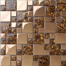Or inox & mélange mosaïque mosaïque feuille cristal verre modèles metal dosseret carreaux de mur bar plateau décor MGT1941