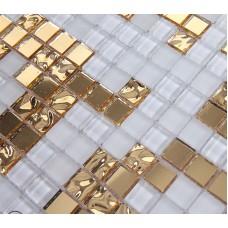 Miroir or et crème mosaïque tuiles murales givrés crystal collages dosseret miroir tuile puzzle mur autocollants décor TMF2134