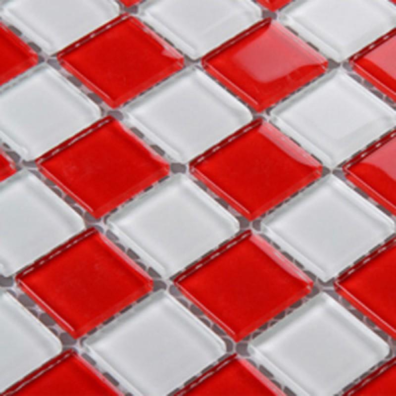 Verre Rouge Dosseret Carreau Cuisine Mosaiques 3031 Mur Blanc De La