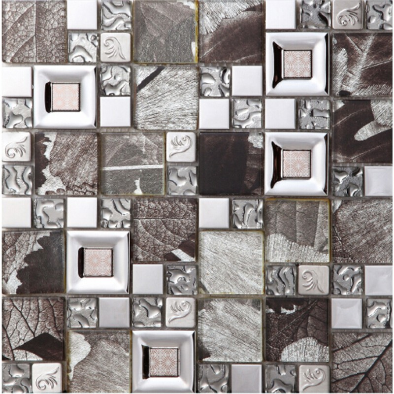 Stainless Steel Pattern Gray Glass Mosaic Tile: Carreaux De Verre Diamant Metal Pour Cuisine Dosseret