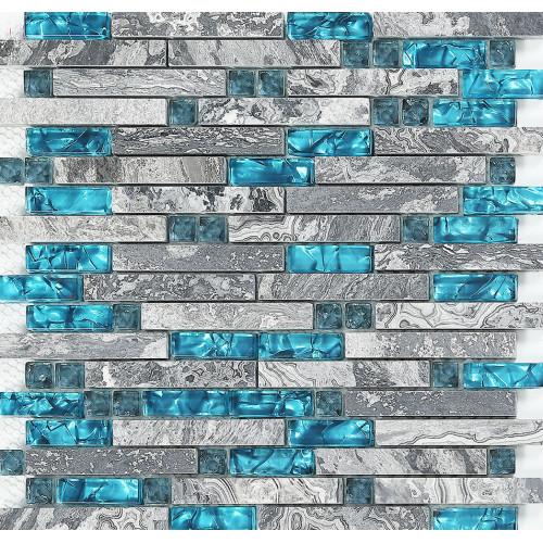 Tuile de marbre gris cuisine dosseret idées salle de bains carrelage plancher SGT008 de carreaux de mur de mosaïque en pierre de verre bleu