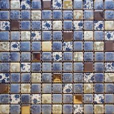 Carreaux de porcelaine dosseret cuisine pour murs bleu et blanc carreaux de douche mur émaillé conception pas cher mosaïque carrelages GPT112
