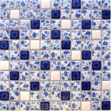 Porcelaine bleue et blanche carreaux cuisine dosserets carrés mosaïque en céramique émaillée tuiles BWT33