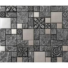 Brossé en acier inoxydable dosseret de carreaux mosaïques, carreaux de mosaïque en céramique noire mosaïque pas cher résine tuile de cuisine MCB965