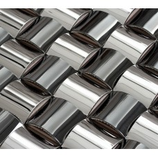 Dosseret en acier inoxydable chromé argent arqué mosaïques de mur de cuisine métalliques avec salle de bain base miroir cadre décor SST102