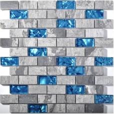Mer bleu verre carrelage cuisine dosseret en marbre verrouillage linéaire douche baignoire cheminée mosaïque tuiles SGB008