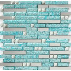 cuisine dosseret diamant pas cher H20 cristal verre métro salle de bain douche Carreaux mosaïques de carreaux de mosaïque de verre bleu pour le dosseret en acier inoxydable