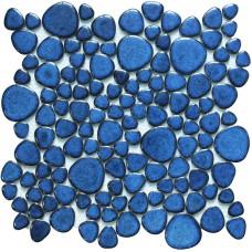 Galets de porcelaine bleu carreaux en forme de coeur carrelage mural vernissé mosaïque mosaïque cuisine dosserets piscine plancher PPT618A