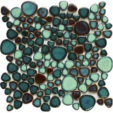 Porcelaine vert galet carrelage en forme de coeur mosaïque émaillés Carreaux cuisine dosseret piscine carrelage PPT619A