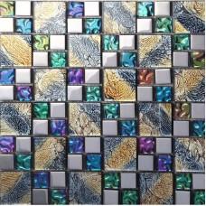 Brique de carrelage mosaïque verre irisé placage des modèles de cadre miroir cristal verre mur tuile dosseret de bain violet PGT1391