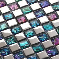 Plaque de mosaique en verre tuiles dosseret idées salle de bain mur douche décoration mosaïque irisée patrons pour dosserets de cuisine PGT151