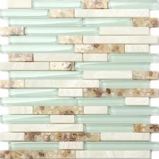 Carreaux de verre vert de mer Beach Style Style Backsplash Pierre blanche et résine Conch Tile Salle de bains Wall Decor