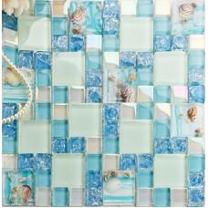 Résine de style méditerranéen de mosaïque de verre bleu fissuré avec Conch Shell Beach Backsplash Carrelage blanc irisé