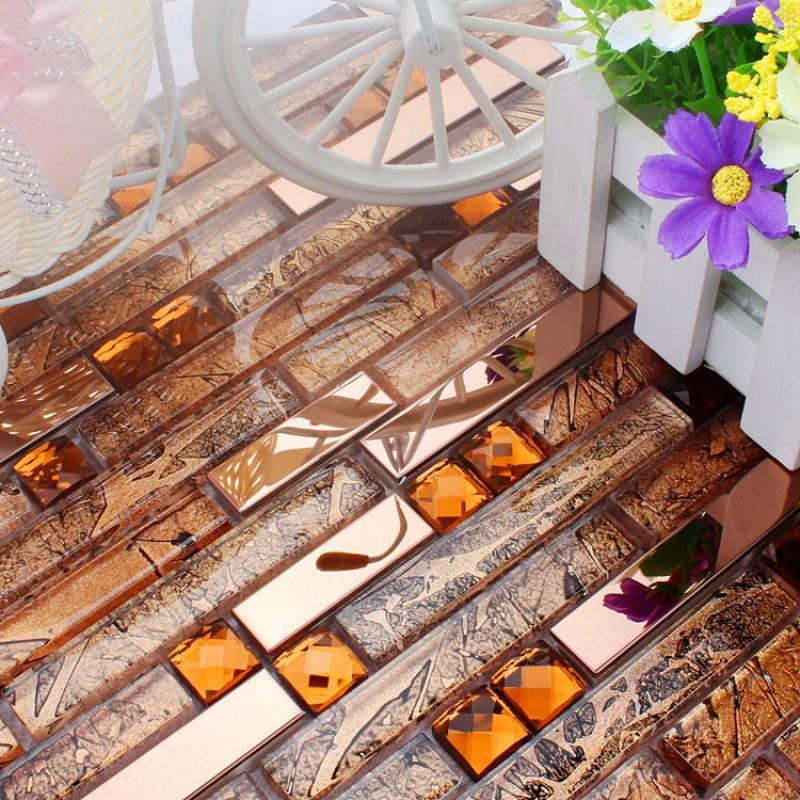 cuisine dosseret diamant pas cher H21 cristal verre métro salle de bain  douche Carreaux mosaïques de carreaux de mosaïque de verre brun pour le ...