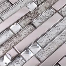 Verre et métal tuile dosseret idées salle de bain inox mosaïque carreaux cuisine design patterns cristal verre diamant carrelage mural MGT119
