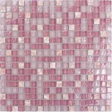 """Carrelage en pierre de verre rose mosaïque carré carreaux de verre givré de 3/5 """"carreaux de cuisine pierres naturelles mur de douche backsplash SG1638"""