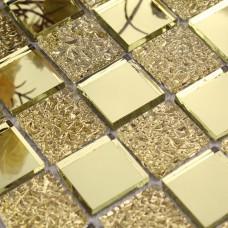 Verre miroir mosaïque tuile feuilles or mosaïque salle de bain douche carreaux design cristal verre miroir cadre décoration murale GMT925