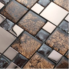 Métal et verre mélangent mosaïque carrelage crackle brun cristal dosseret inox avec base MGT007 cuisine dosseret mural décor