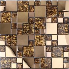 Dosseret en acier inoxydable or pour cuisine et salle de bains metal et verre mosaïque motifs douche bon marché mur de carreaux carreaux design MGT033