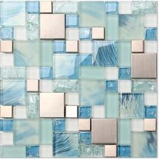 Mosaïque de verre bleu feuilles en acier inoxydable dosseret crackle carreaux de verre de cristal pour la cuisine et carrelage mural de salle de bain mosaïque en métal MGMH10