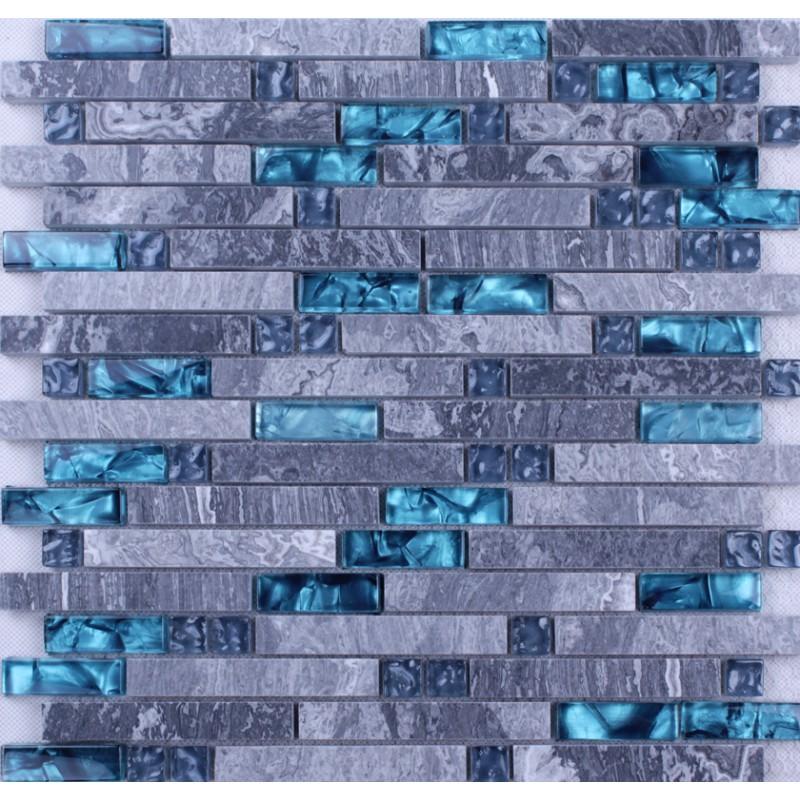 verre bleu pierre mosa que carreaux backsplash de cuisine tuile de marbre gris. Black Bedroom Furniture Sets. Home Design Ideas