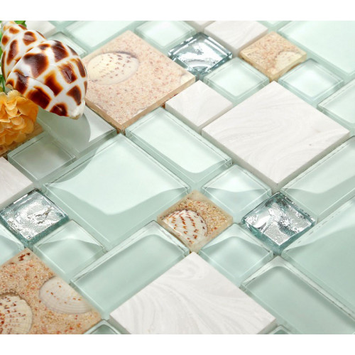 Tuile de mosaïque de verre et de pierre, lac vert de style de plage et blanc, coquille de perle intérieure de résine de sable et conque