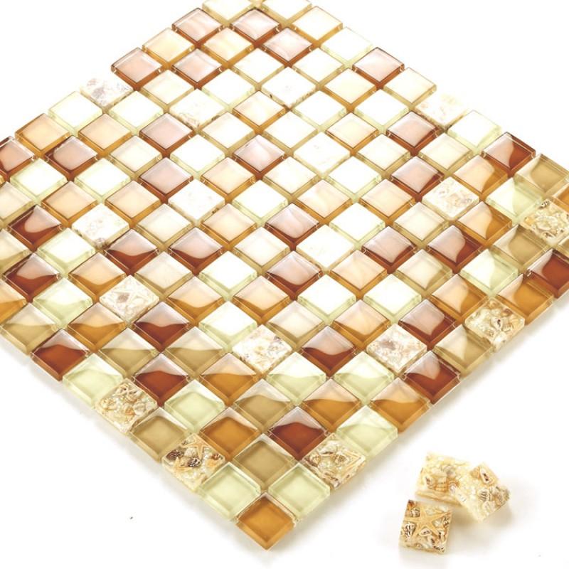 Verre sur le lambi / tuile feuilles cuisine dosseret pas cher cristal brun  verre mosaïque GCS101 salle de bains carrelage design de carreaux de mur ...