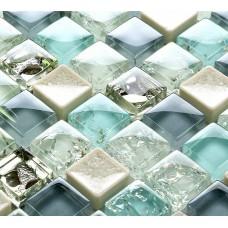 Feuilles de mosaïque carrelage beiges de glace bleue crack verre crackle verre dosseret bon marché fissuré grès cérame pour cuisine et salle de bain PGPS88