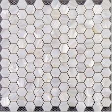 Mère de mosaïque à six pans creux de douche de salle de bain pas cher pour le dosseret carreaux perle tuiles dessins blanc coquillage tuile coquille normale des matériaux ST013