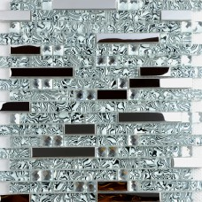 Cristal verre et metal dosseret de carreaux pour cuisine et salle de bains inox argent carrelage bain diamant modèles en verre mosaïque pour les douches MGS052