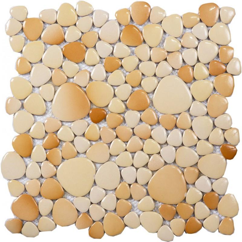 Galets émaillés de porcelaine beige tuile feuilles mosaïque murale tuiles  dosseret de carreaux de galets pas cher pour salle de bain et cuisine PPYS15