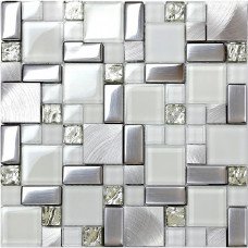 Verre et métal argent tuile dosseret idées brossé en acier inoxydable feuille plaqué cristal verre mosaïque cuisine tuiles MGTY63