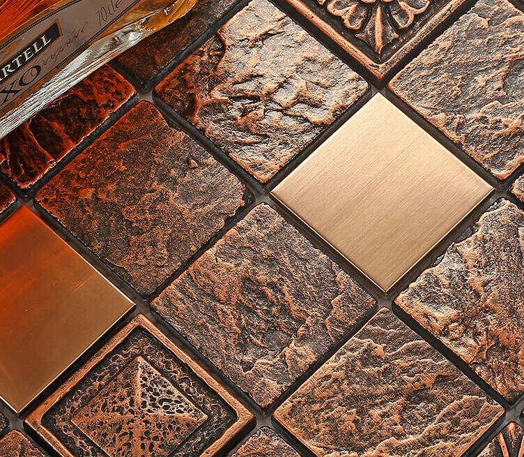Stainless steel mosaic backsplash tiles